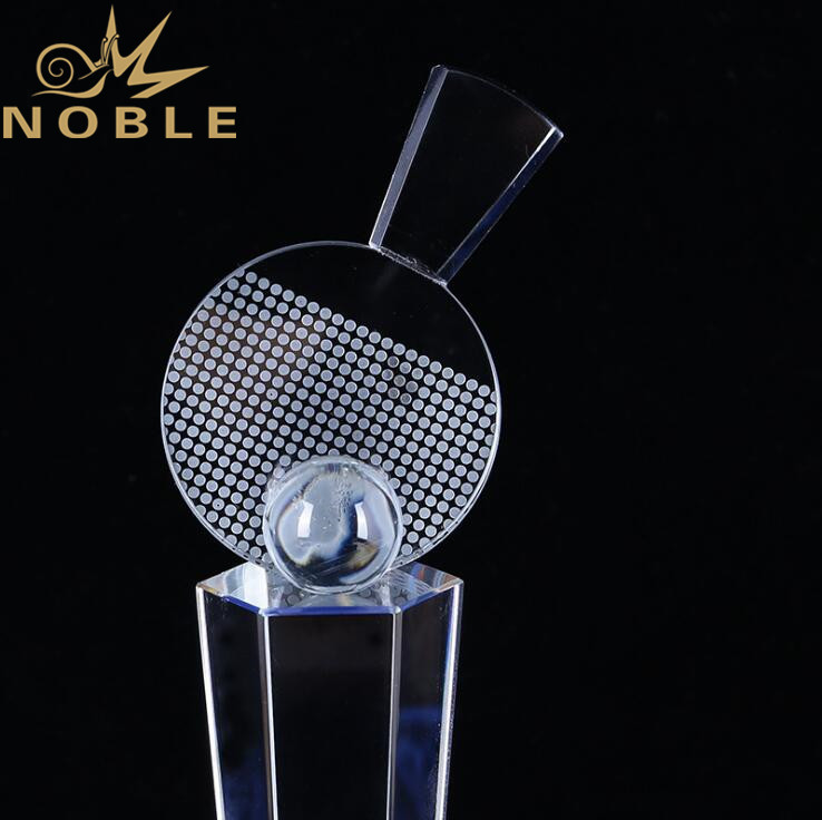 Free Engraving High Quality Sports Crystal Trophy for PingPong