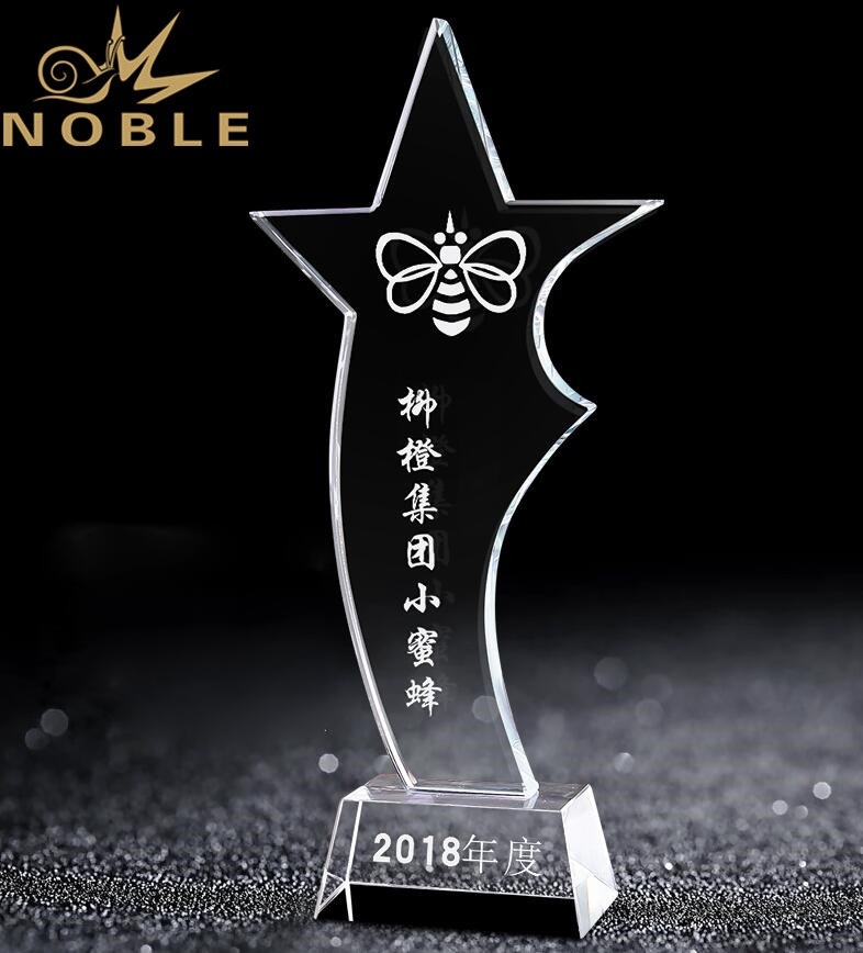 Free Engraving High Quality Crystal Star Trophy