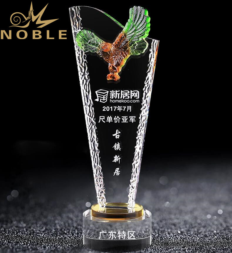 High Quality Custom Engraving Crystal Eagle Trophy
