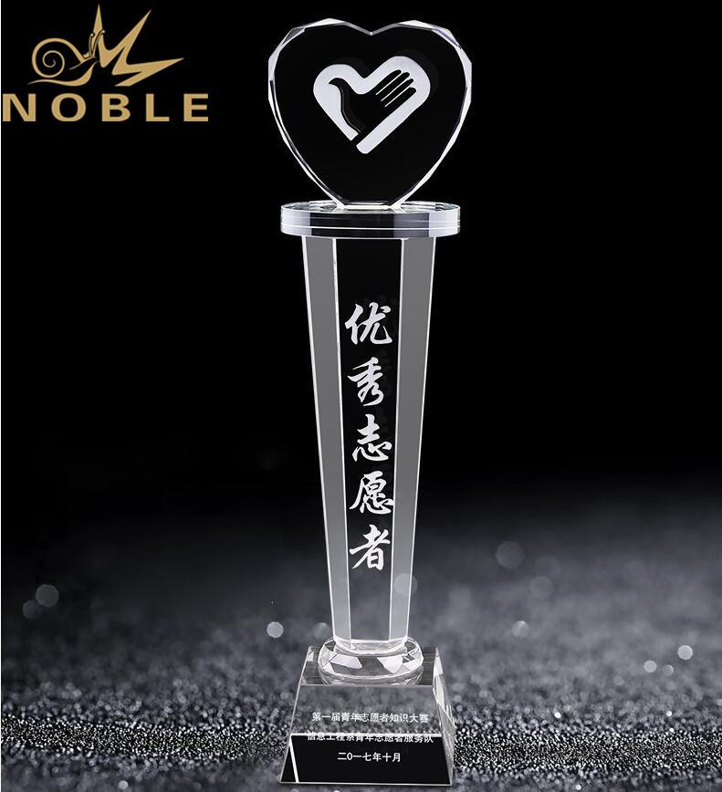 Free Engraving New Design Custom Love Heart Crystal Trophy