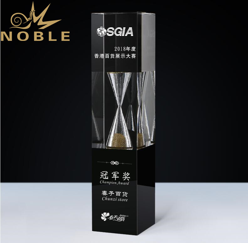 Noble High Quality Custom Crystal Hourglass Trophy