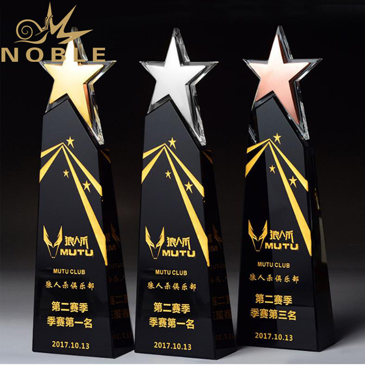 New Design High Quality Free Engraving Crystal Star Trophy