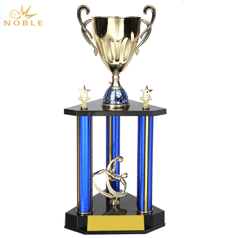 Best Selling Custom Football Sports Metal Large Trophy with Blue Pillar