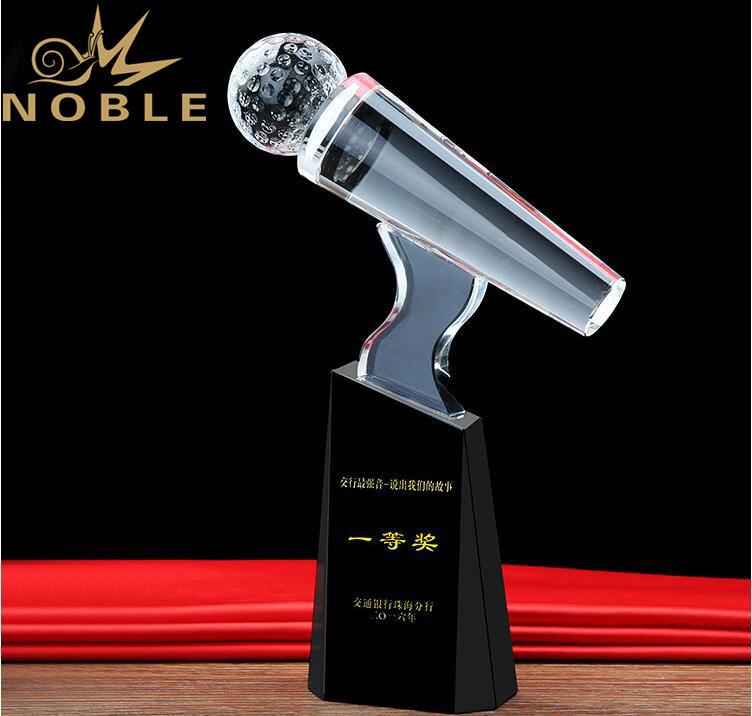 Custom Engraving Crystal Microphone Trophy