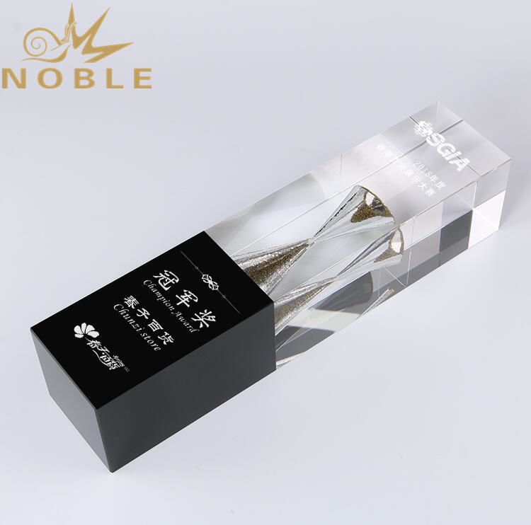 New Design Crystal Cube Award with Hourglass
