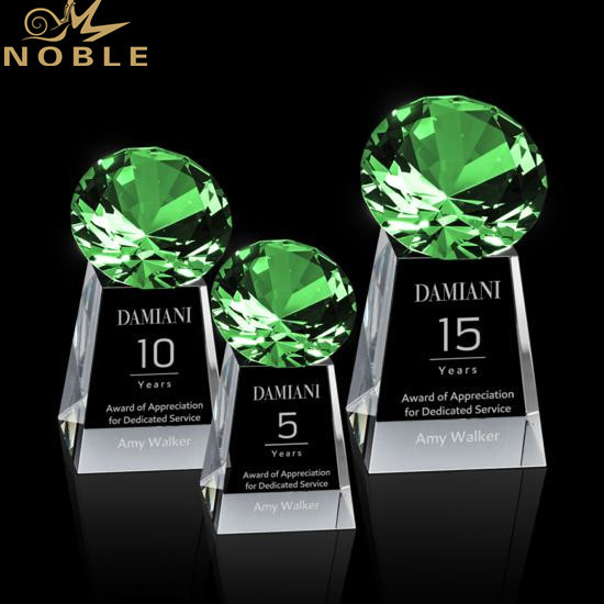 High Quality Custom Engraving Green Diamond Crystal Tower Award