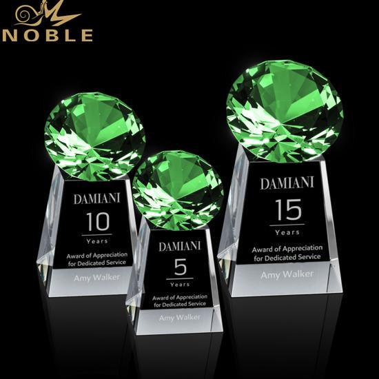 High Quality Custom Engraving Green Diamond Crystal Tower Award