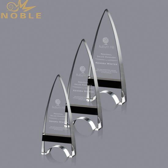 Noble Custom Minaret Crystal Obelisk Plaque Trophy with Your Engraving