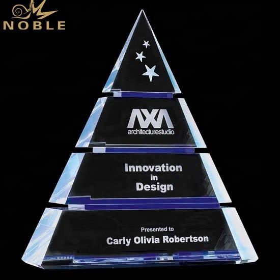 Noble High Quality Custom Crystal Tiered Pyramid Luxor Award