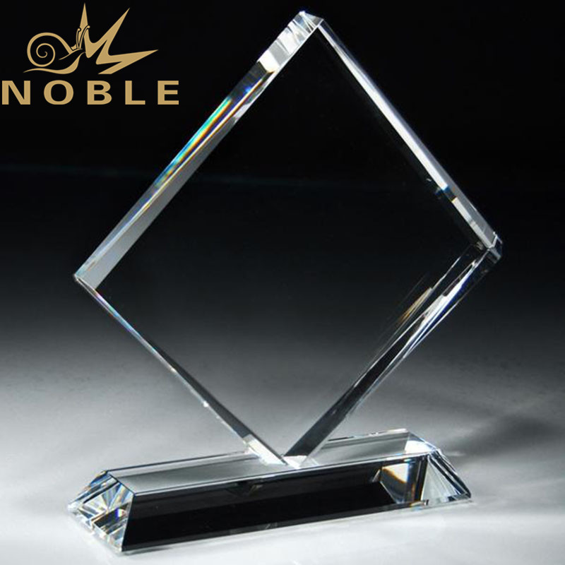 High Quality Exquisite Beveled Diamond Crystal Plaque Award