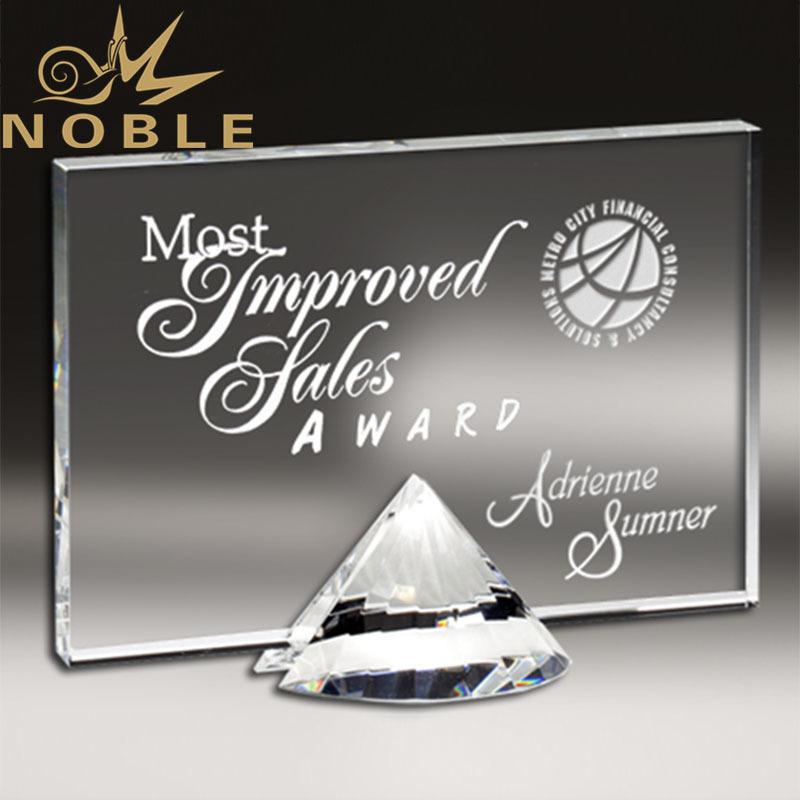 Noble Custom Engraving Exquisite Diamond Plaque Crystal Award Trophy