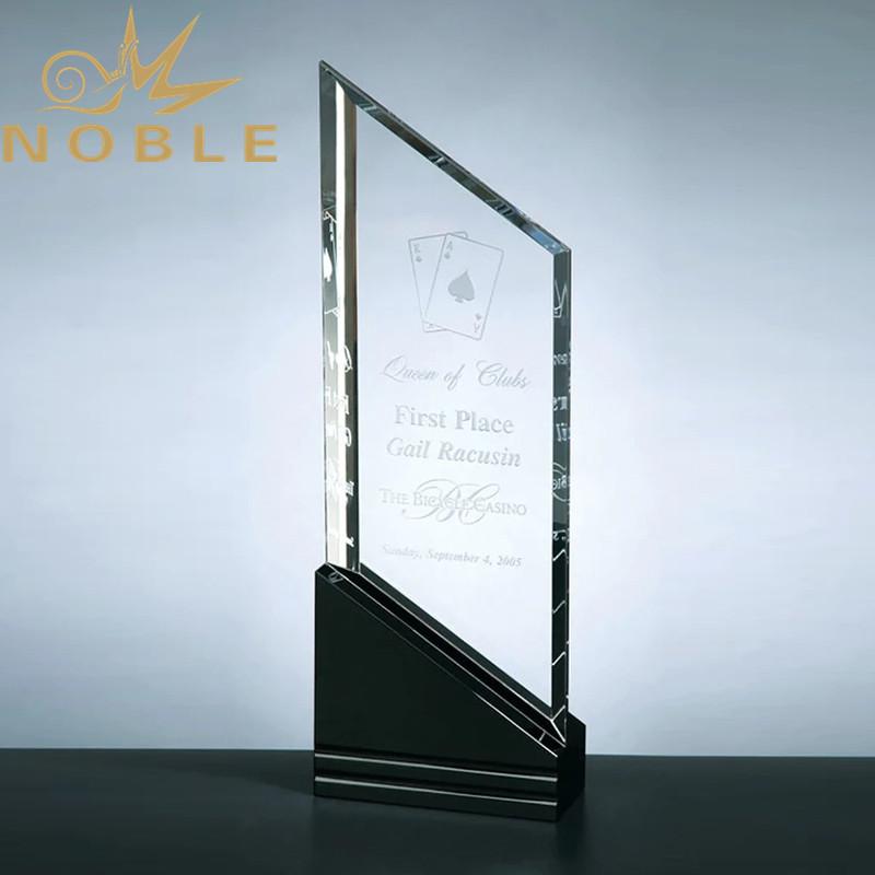 Exclusive Raising Sail Crystal Award with Black Crystal Base