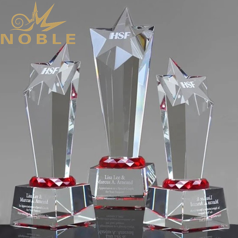 Faceted Crystal Star Award with Red Accent