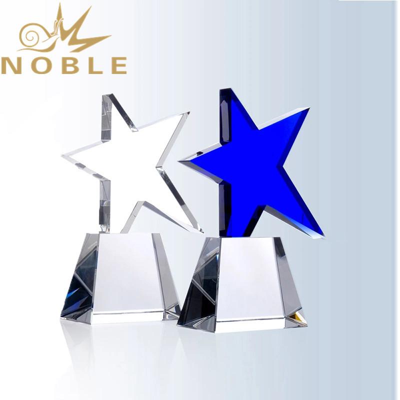 Noble New Design Meteor Blue Star Crystal Award