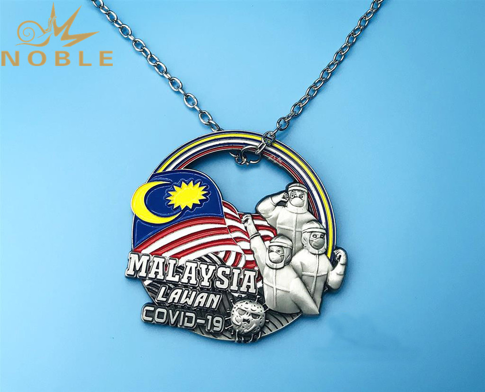 High Quality Custom Design COVID-19 CORONA Virus Metal Medal with Metal Chain