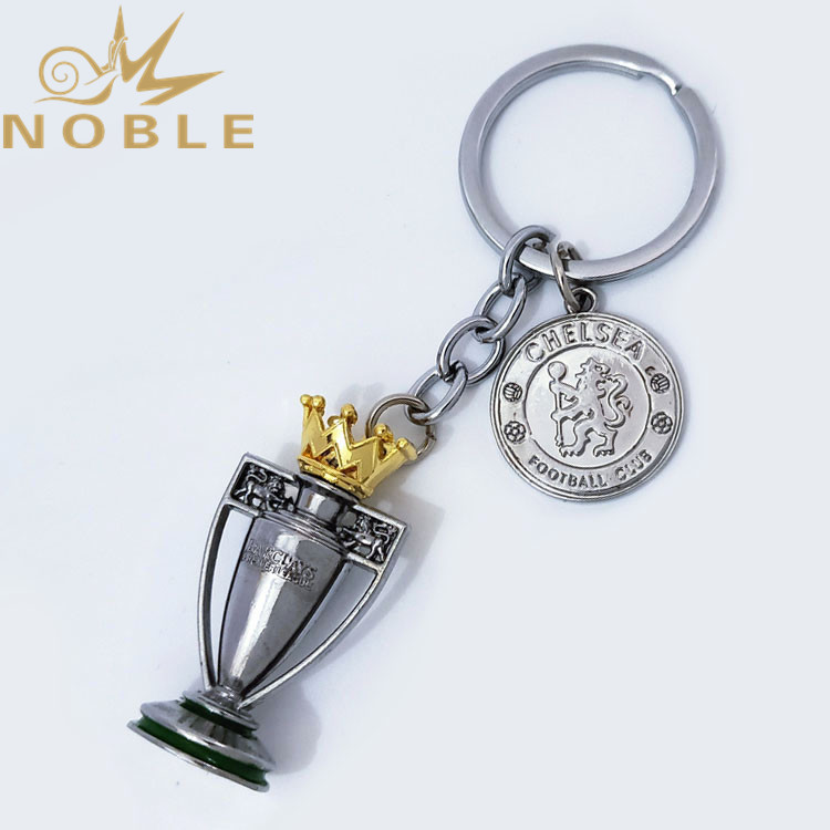 Football Fans Support Gifts Premier League Champion Trophy Metal Keychain with Chelsea Football Club Badge