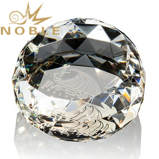 Noble Custom Diamond Facets Gem Cut Crystal Paperweight