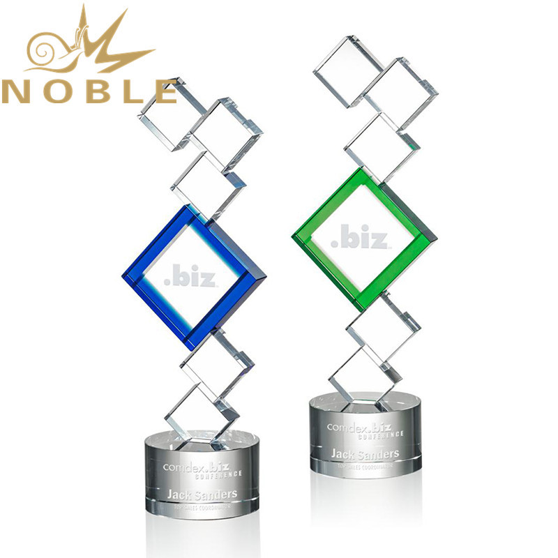 Noble High Quality Optical Square Clear Crystal Custom Recognition Award