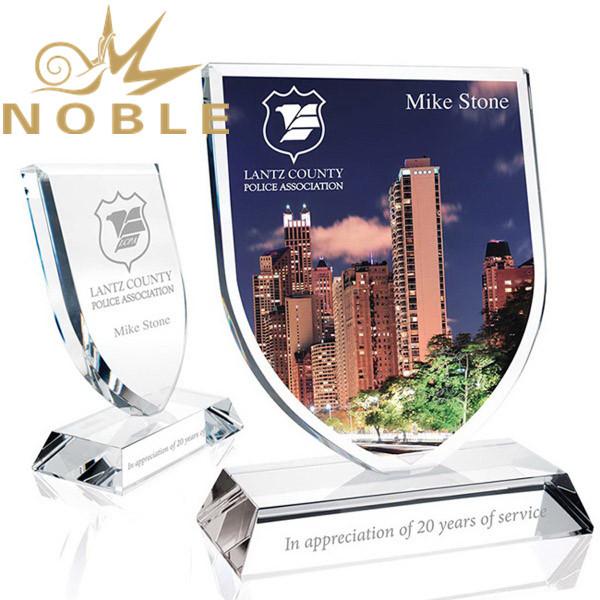 Custom UV Printing Crystal Shield Plaque Award