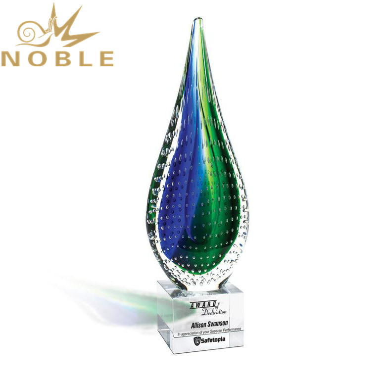 Noble Excellent New Design Custom Hand Blown Tear Drop Shape Art Glass Award Trophy