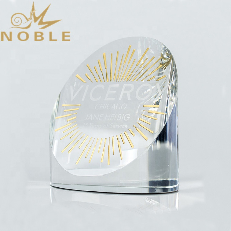 Custom Engraving Crystal Cylinder Award with Color Filling