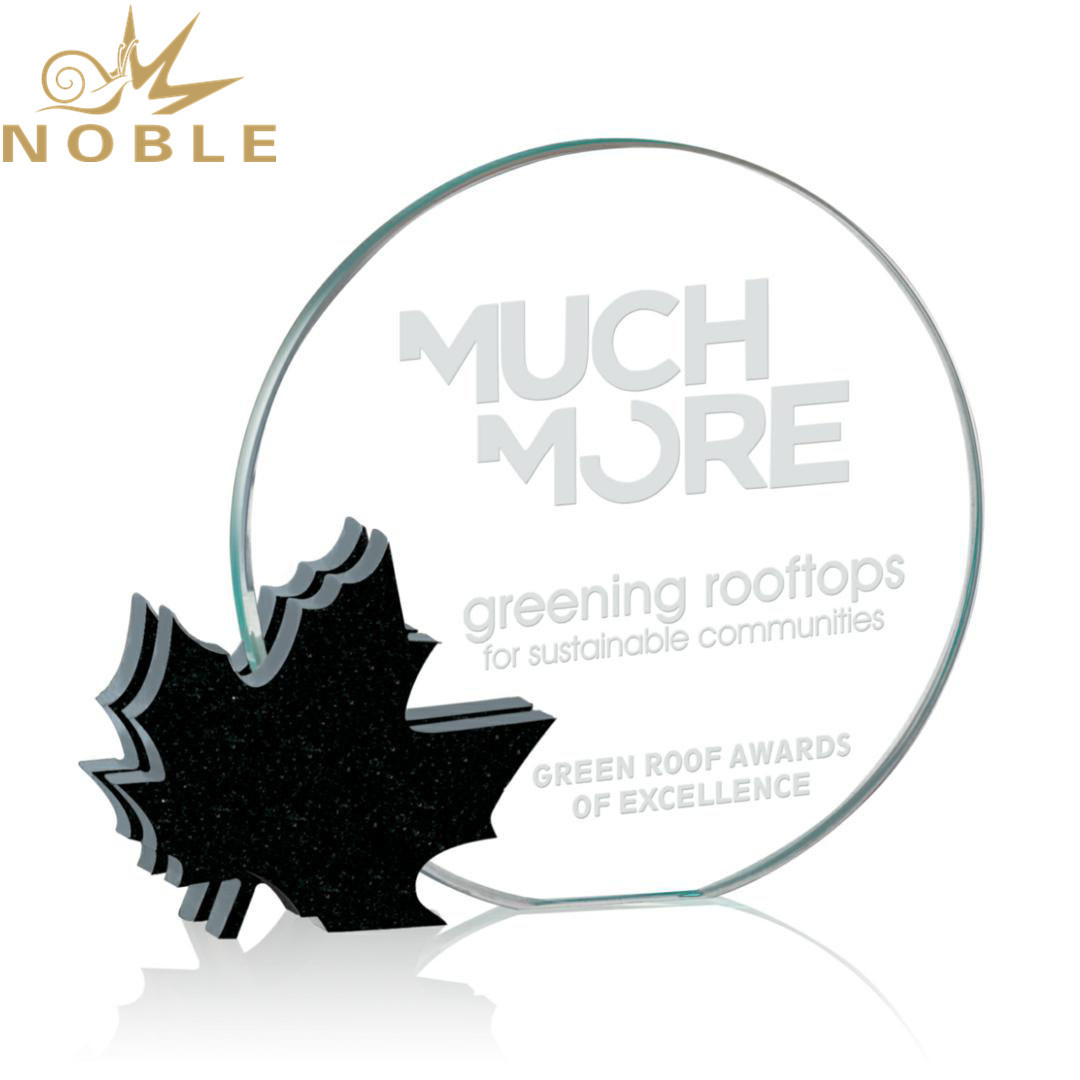 Canadian Identity Aluminum Maple Leaves Crystal Round Plaque Award