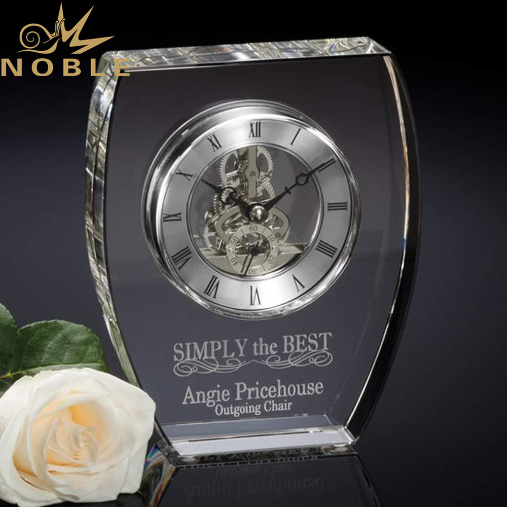 High Quality Luxury New Design Business Gift Crystal Clock Award