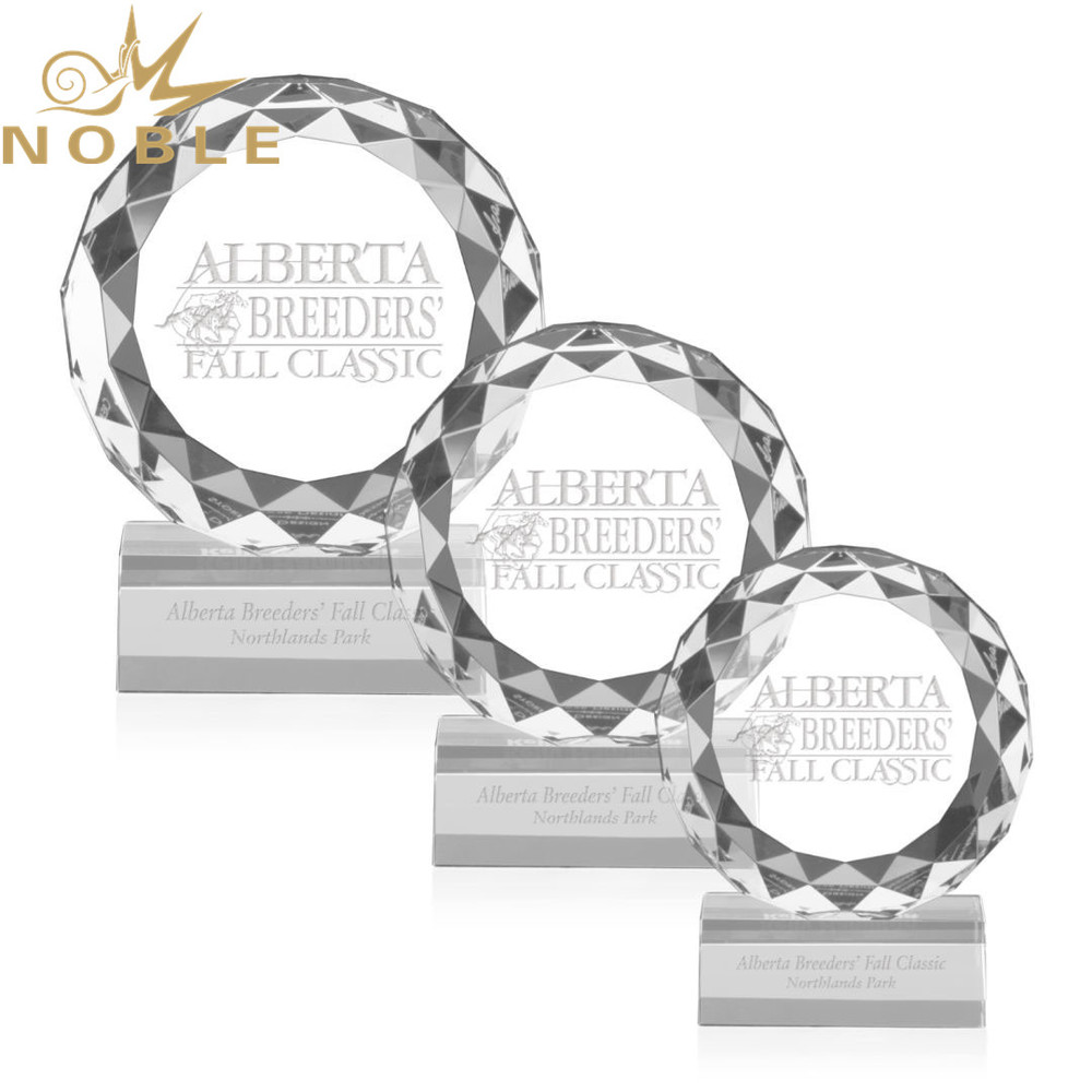 Noble High Quality Custom Diamond Facets Optical Crystal Plaque Award