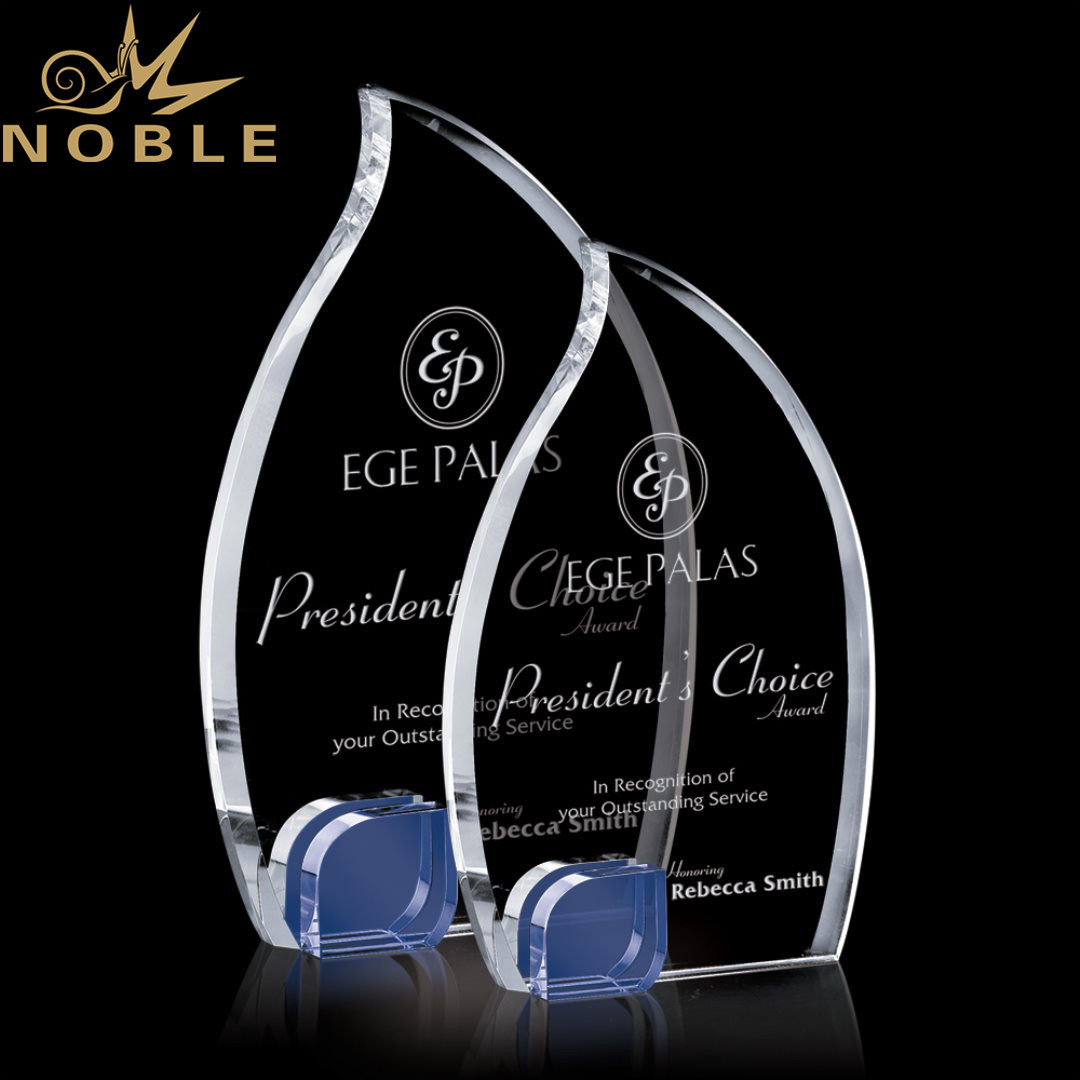Stunning Optical Custom Crystal Flame Award Trophy with A Blue Accent