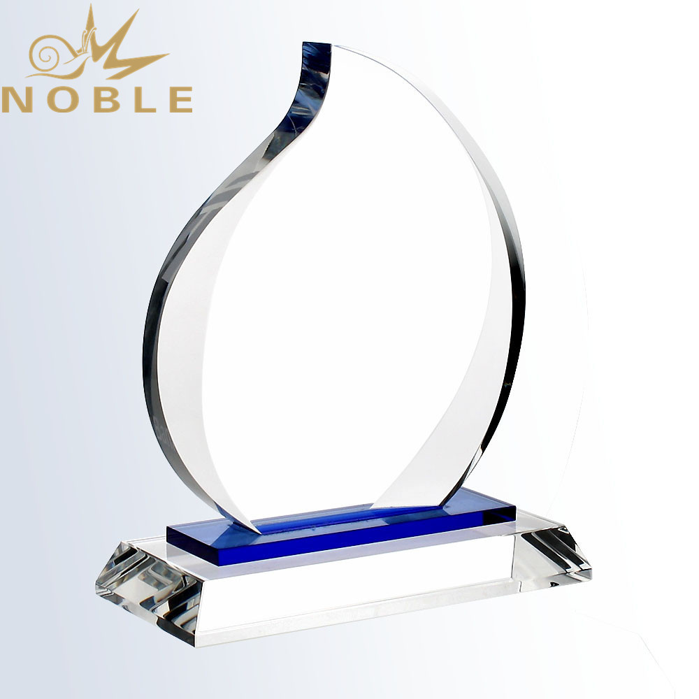Noble High Quality New Design Blue Eternal Crystal Flame Plaque Trophy