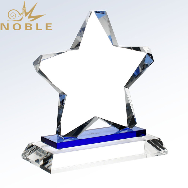 Custom Design Free Engraving Crystal Star Trophy with Blue Plate