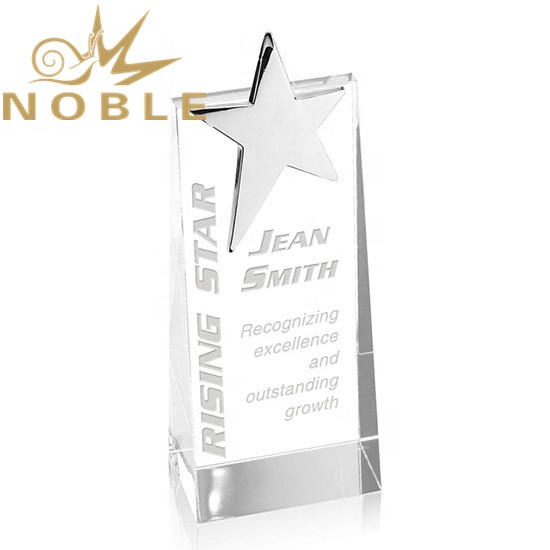 Noble Free Engraving High Quality Custom Crystal Wedge Trophy with Metal Star