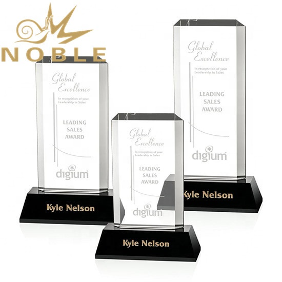 Noble Custom Rectangular Optical Crystal Award with Black Base