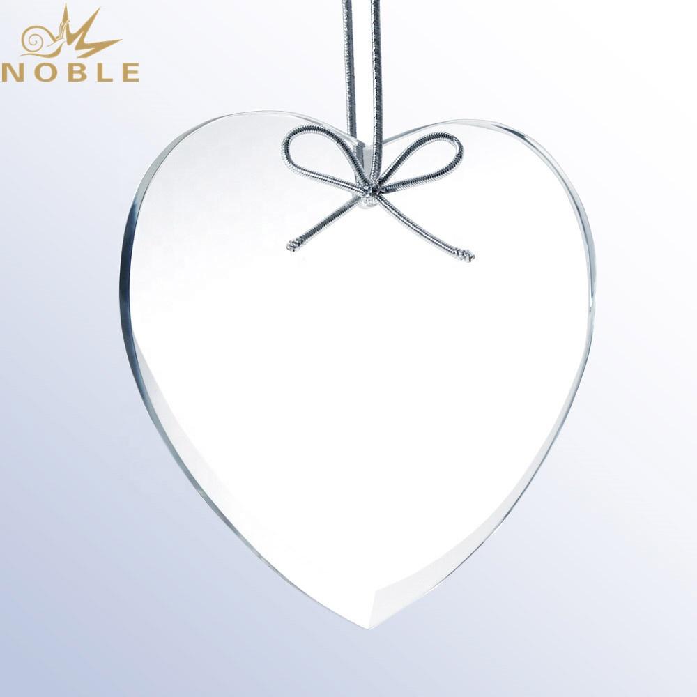 Christmas Tree decoration custom engraved Beveled Premium Heart Glass Ornament