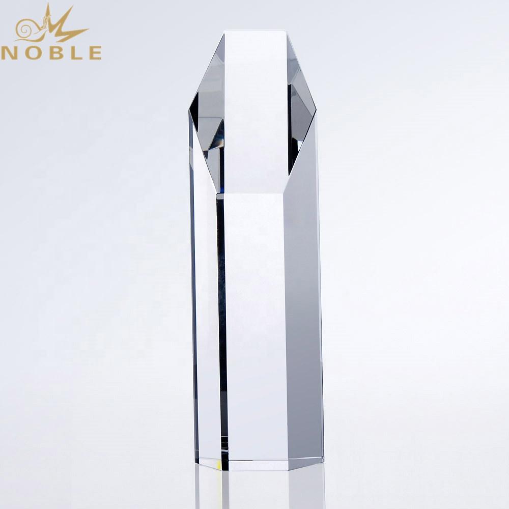 Free Engraving Custom Optical Crystal Block Hexagon Tower Trophy
