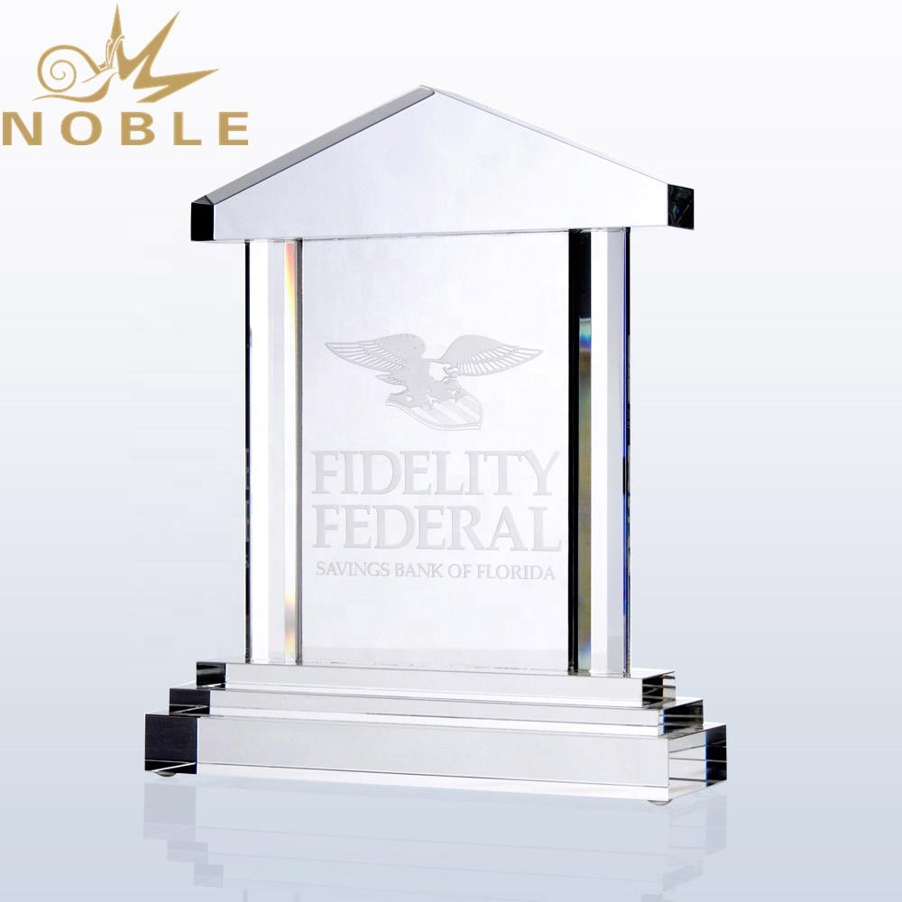 Custom Royal Palace House Shaped Crystal Award