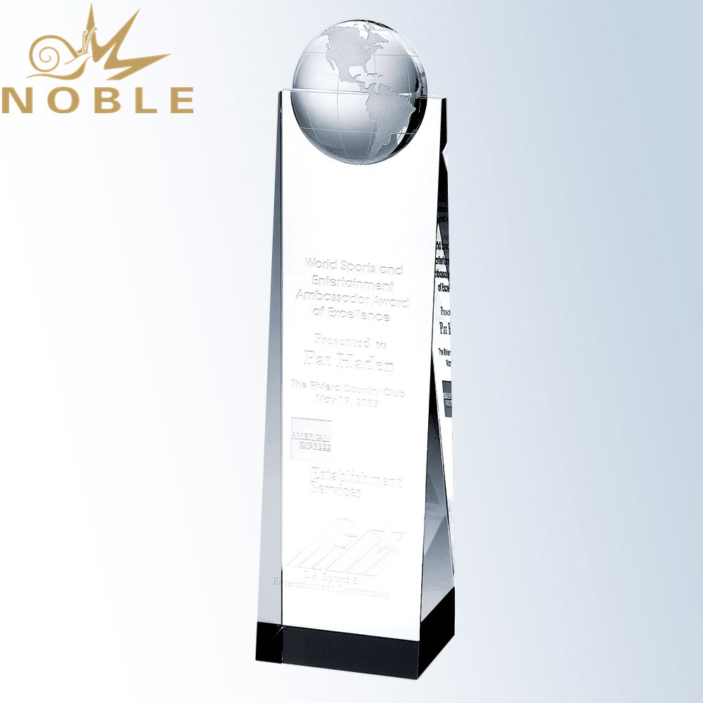 Free Engraving Custom Crystal Wedge Globe Tower Award