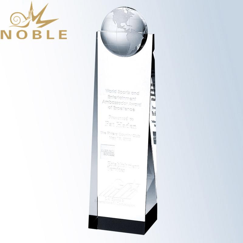 Free Engraving Custom Crystal Wedge Globe Tower Award