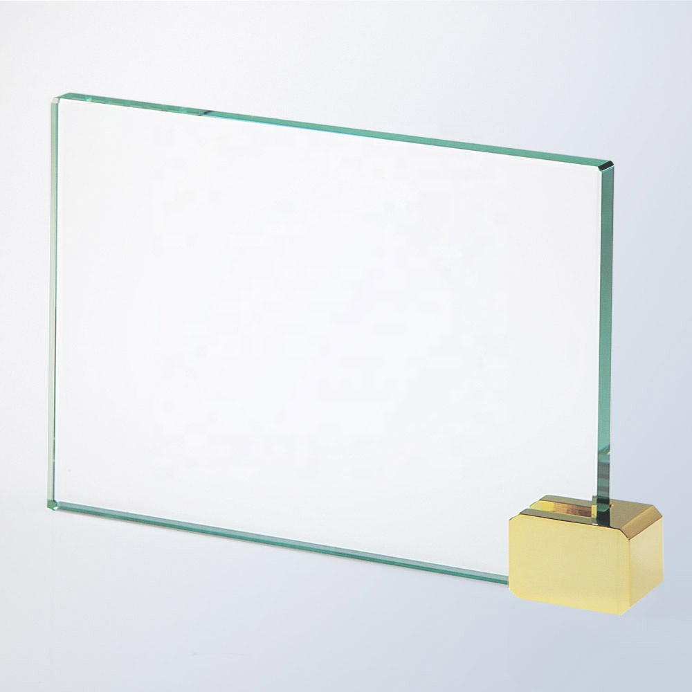 Free Engraving Custom Jade Glass Blank Rectangle Plaque Award with Aluminum Base
