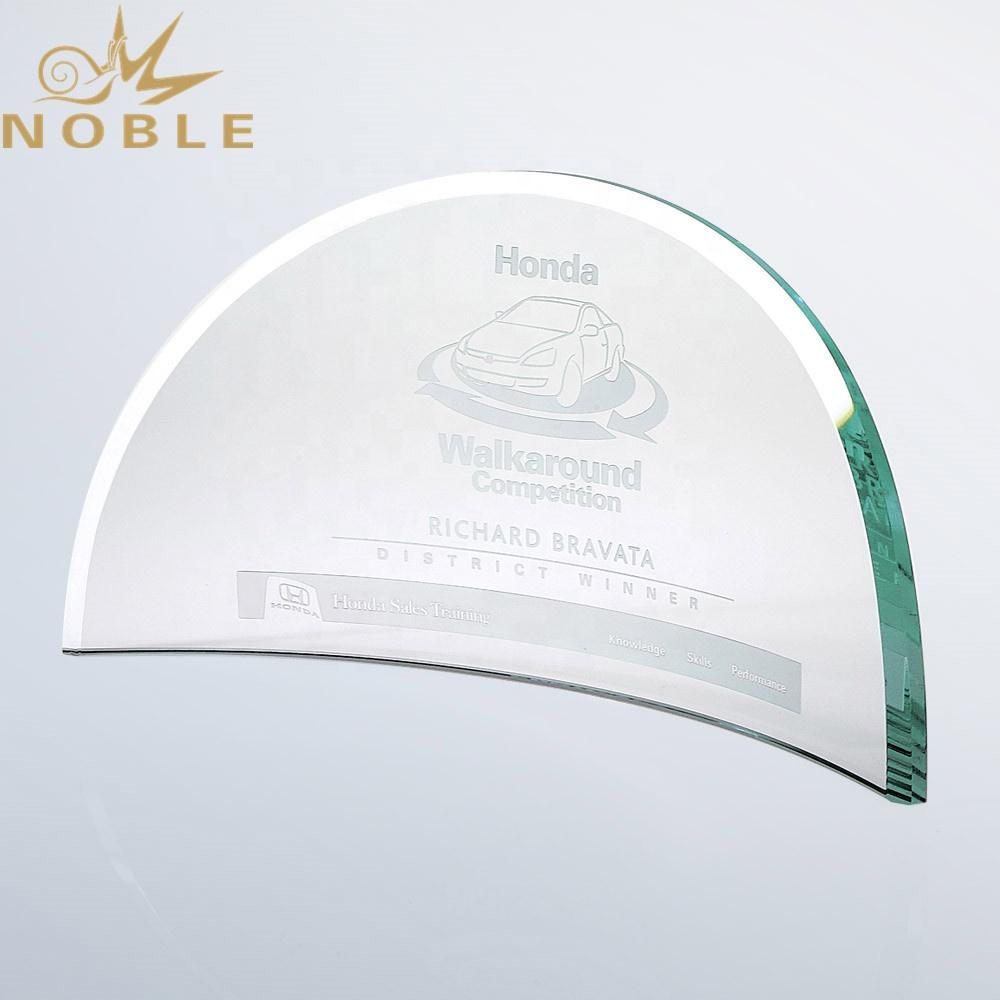Noble Custom Jade Glass Beveled Bent Plaque Trophy