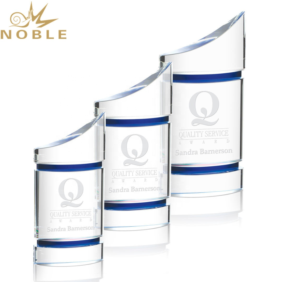 Noble High Quality Magnificent Optical Custom Crystal Award with Blue Accents for A Star Achiever