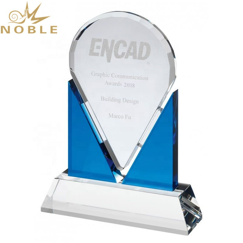 Noble New Design Clear & Blue Optical Crystal Plaque Award