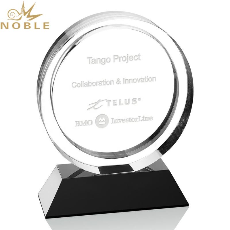 Custom Round Optical Crystal Plaque Award on Black Base