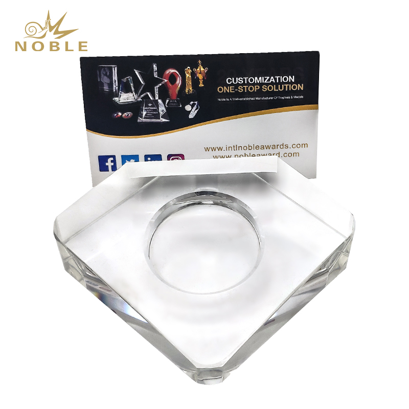 Custom Crystal Business Gift Crystal Name Card Holder with Clock