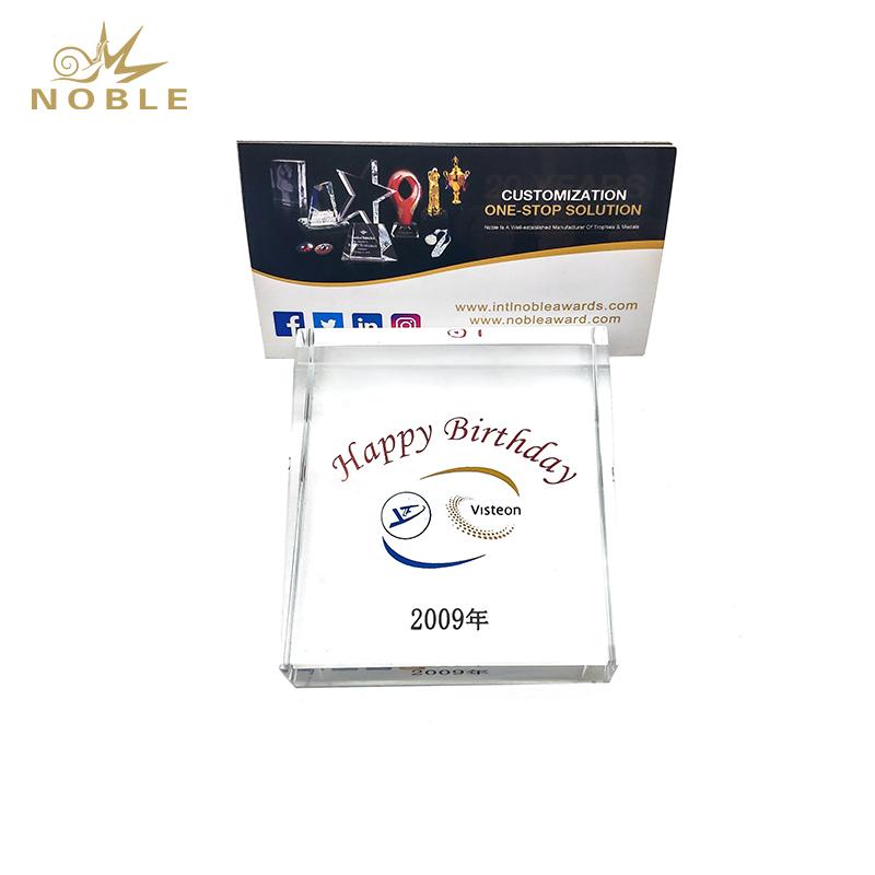 Business Souvenir Custom Logo Crystal Name Card Holder
