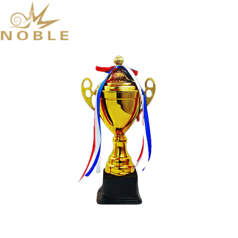 Custom Printing logo Sports Championship Metal Badminton Trophy