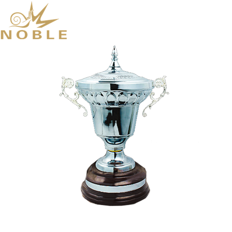 Luxury High Quality Shiny Silver Metal Cup Trophy with Wooden base