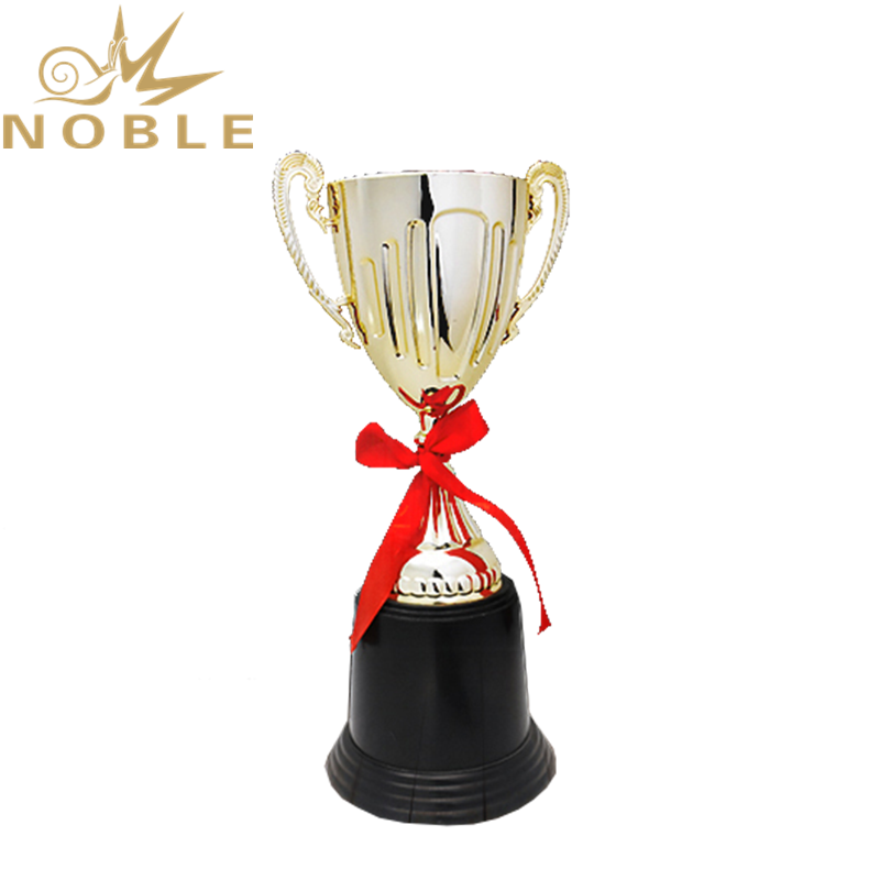 Hot Selling Low Price Plastic Trophy Cup Award with Red Ribbon