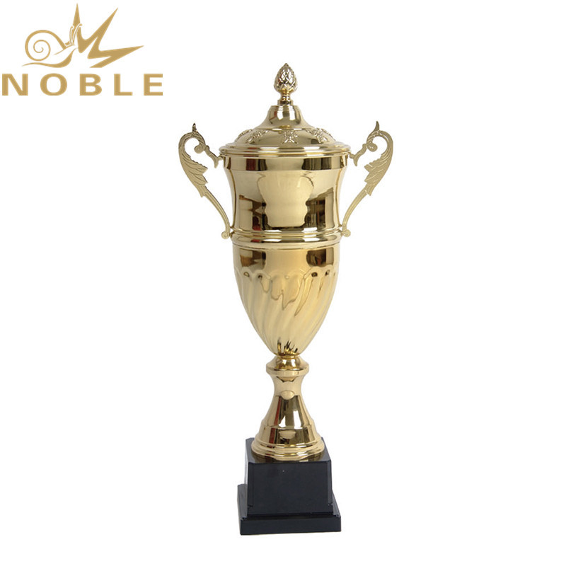 Sports League Metal Badminton Cup Trophy with Black Plastic Base