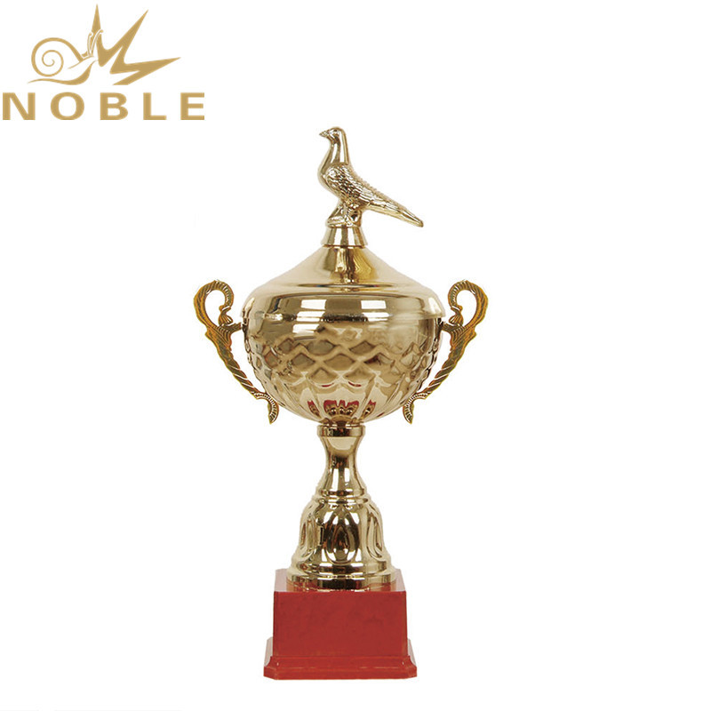 Shiny Gold Metal Bird Figurine Trophy with Red Plastic Base